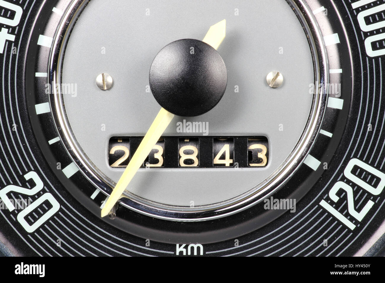 speedometer and odometer of a classic car - Stock Image