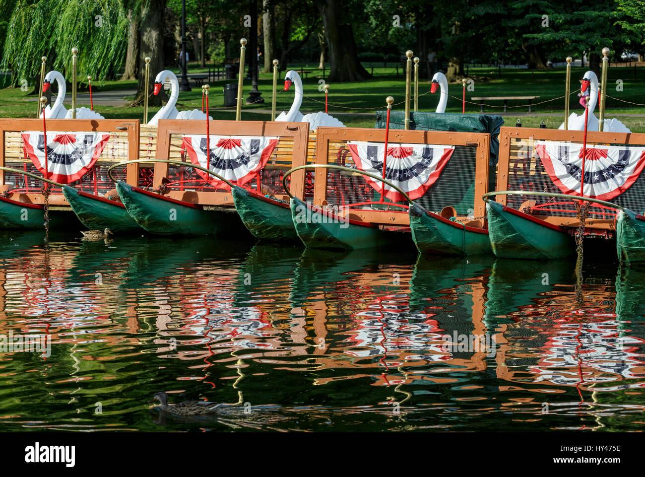 Swan boats, Public Garden, Boston, Massachusetts USA Stock Photo