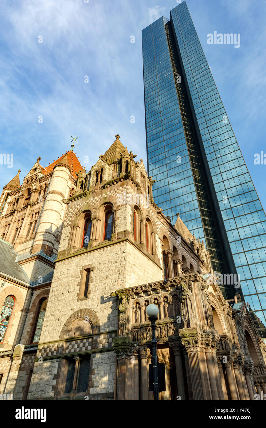 200 Clarenton, formerly known as Hancock Tower and Trinity Church, Copley Square, Boston, Massachusetts USA Stock Photo