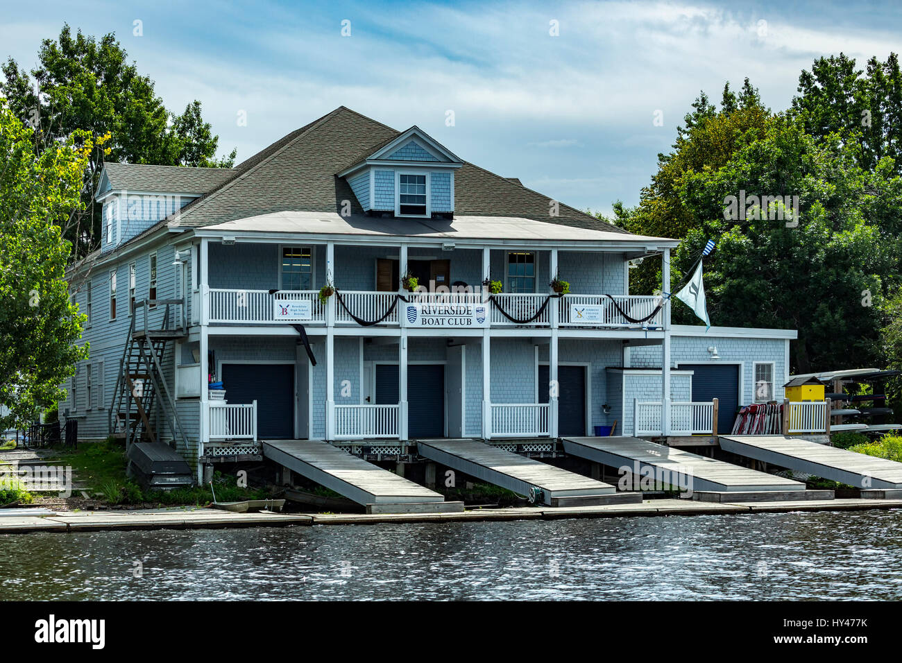 Riverside Boat Club boat house on Charles River, Cambridge (Boston Area), Massachusetts USA - Stock Image