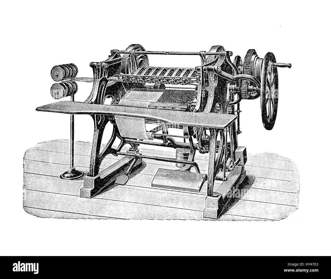 Wire binding machine to assembly a book for press production, XIX ...