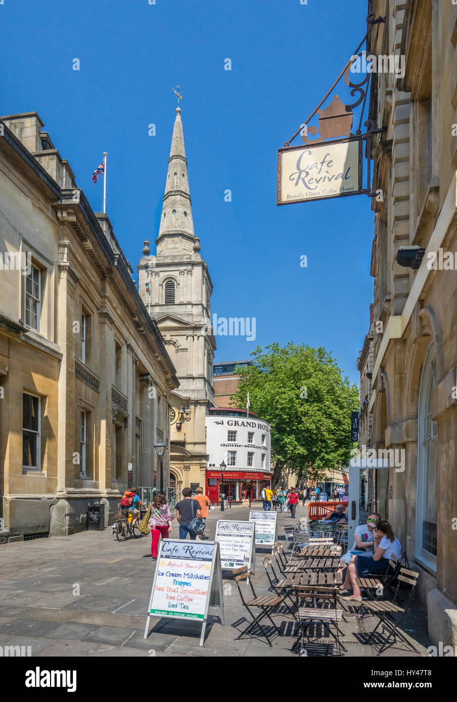 United Kingdom, South West England, Bristol, Corn Street with view of Christ Church with St Ewen, one of the principal - Stock Image