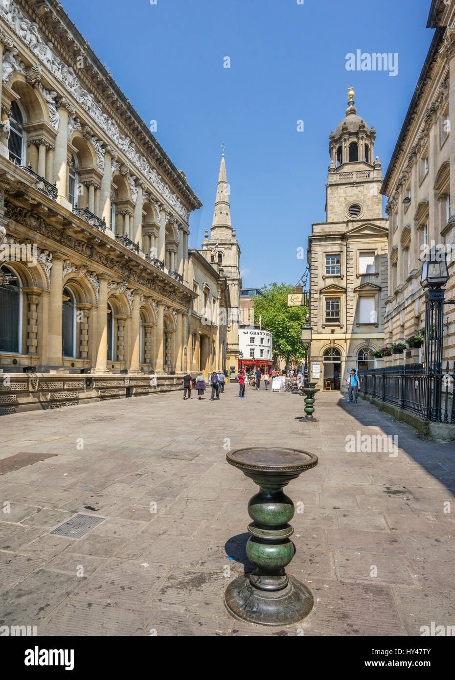 United Kingdom, South West England, Bristol, bronce tables referred as 'nails' at Corn Street in centre - Stock Image