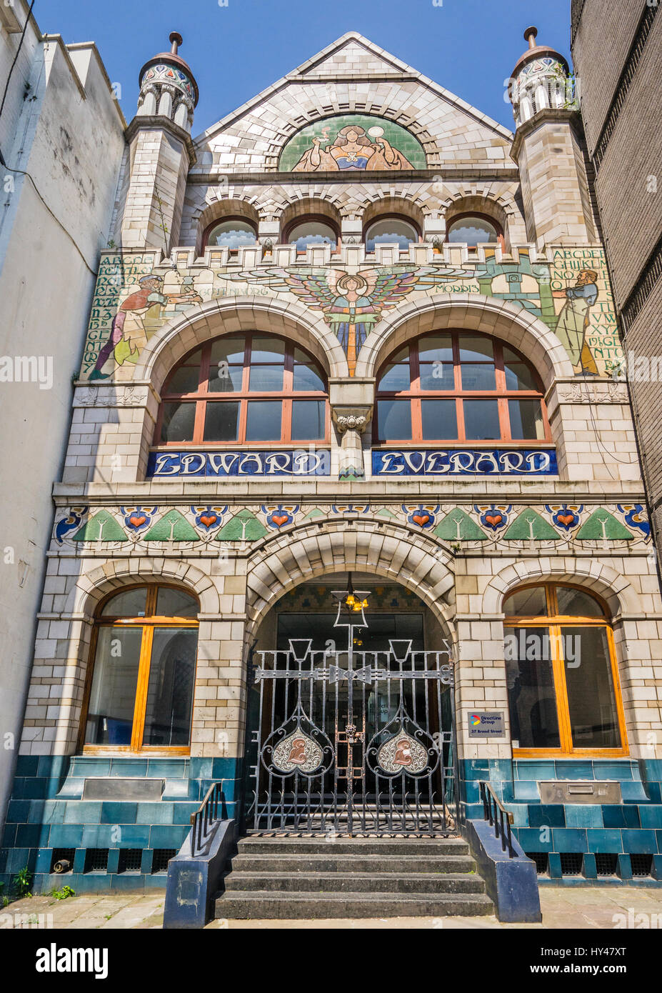 United Kingdom, South West England, Bristol, exhuberant faience frontage of the Edward Everard Building in Broad - Stock Image
