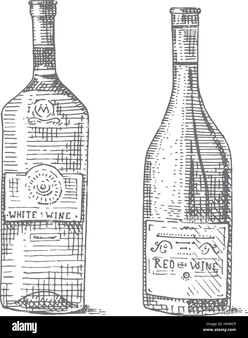 Wine Bottle Hand Drawn Engraved Old Looking Vintage Illustration In Scratchboard Style