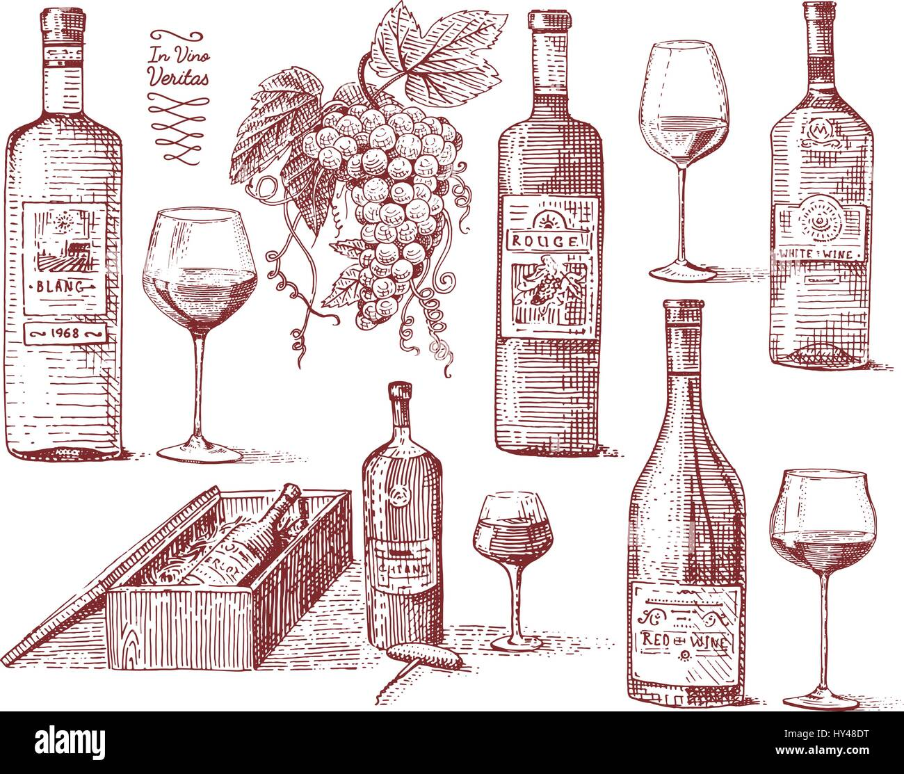 Wine Harvest Products Press Grapes Vineyards Corkscrews Glasses Bottles In Vintage Style Engraved Hand Drawn Sketch