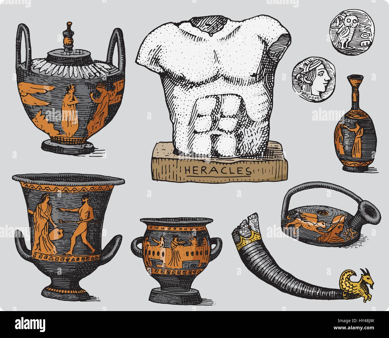 Ancient Greece Antique Symbols Greek Coins Heracles Sculpture