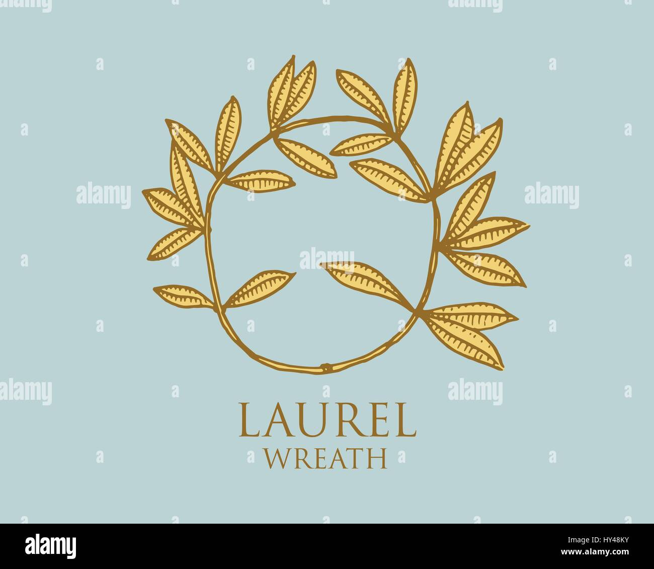 Logo Of Ancient Greece Antique Symbol Laurel Wreath Vintage Engraved Hand Drawn In Sketch Or Wood Cut Style Old Looking Retro