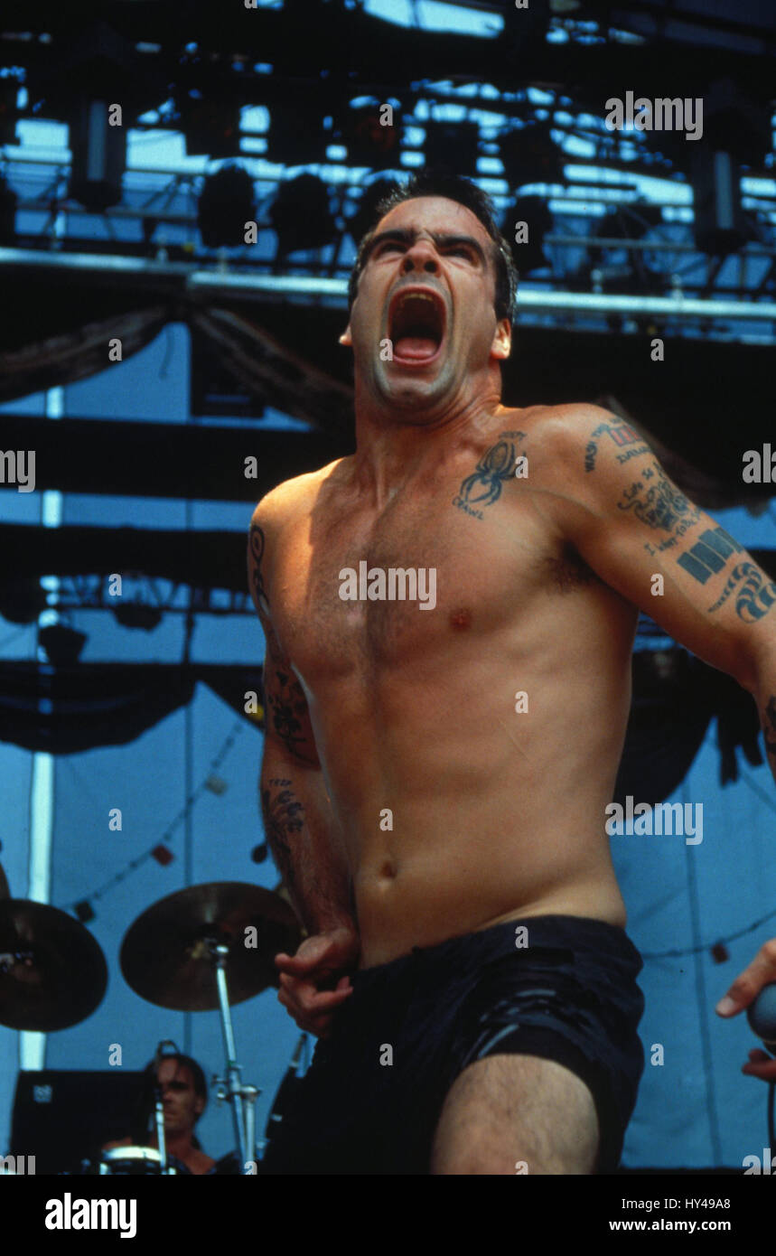 Henry Rollins performing  at Lollapalooza in Irvine, CA. July 21, 1991.   Credit: Kevin Estrada / MediaPunch - Stock Image