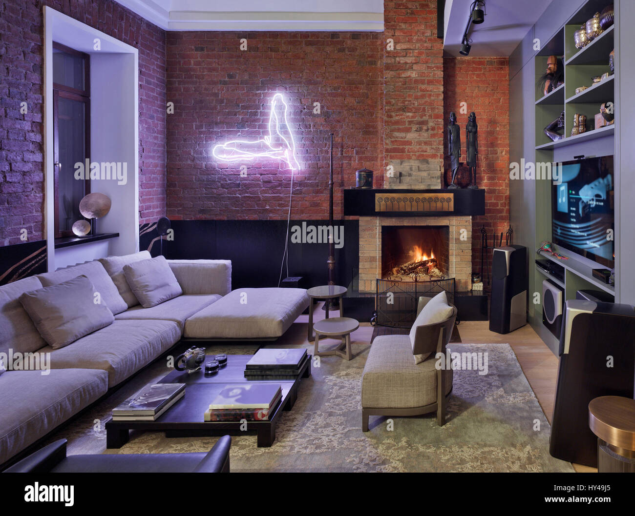 Interior Design In A Luxury Loft Apartment In Moscow Living Room Stock Photo Alamy