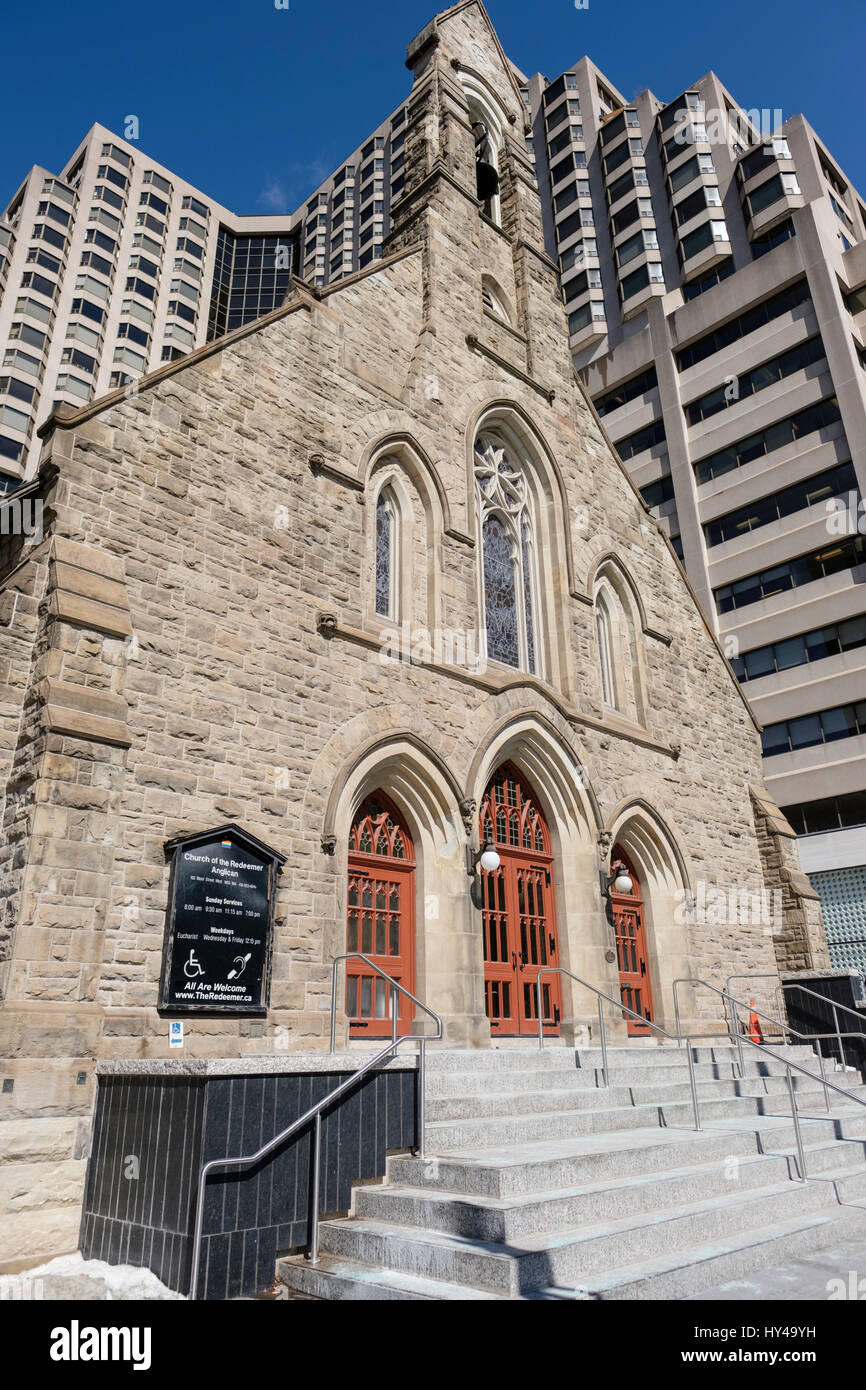 The Church of the Redeemer, an Anglican church at the corner of Avenue Road and Bloor Street West in Yorkville, - Stock Image