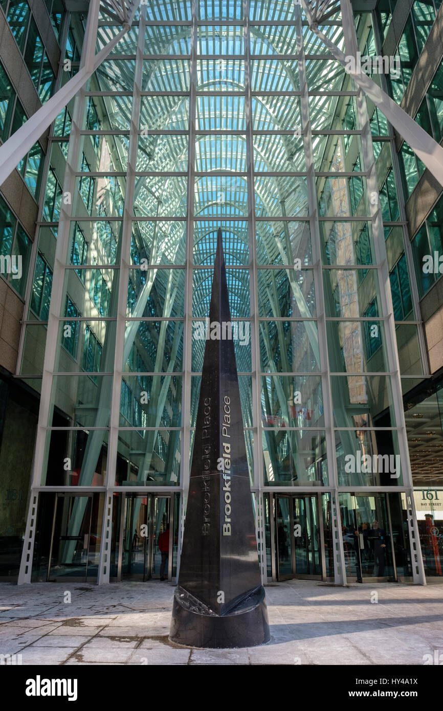 Entrance to Brookfield Place (formerly BCE Place) Santiago Calatrava's Allen Lambert Galleria in downtown Toronto, - Stock Image