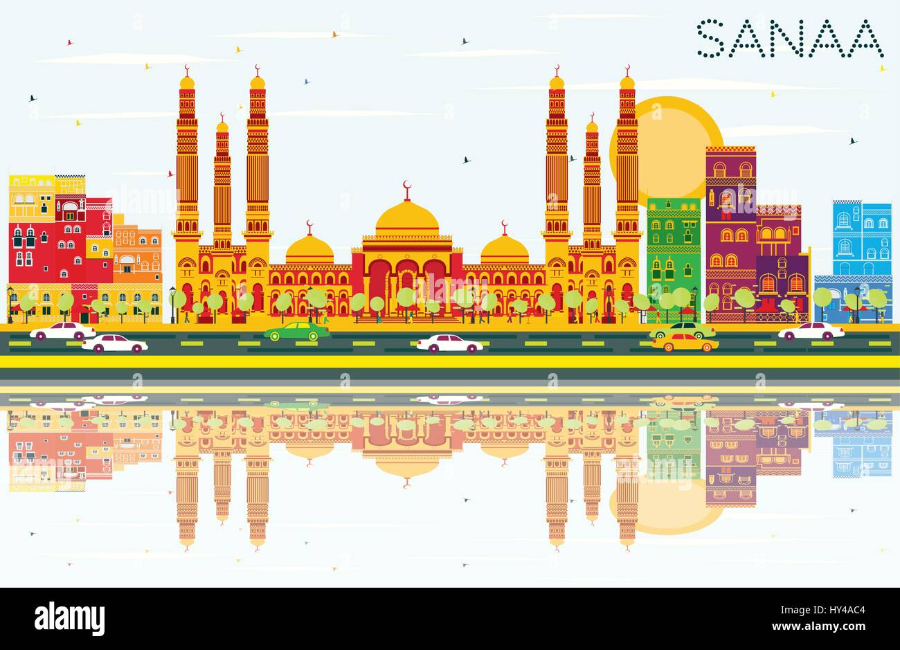 Sanaa (Yemen) Skyline with Color Buildings, Blue Sky and Reflections. Vector Illustration. Business Travel and Tourism - Stock Vector