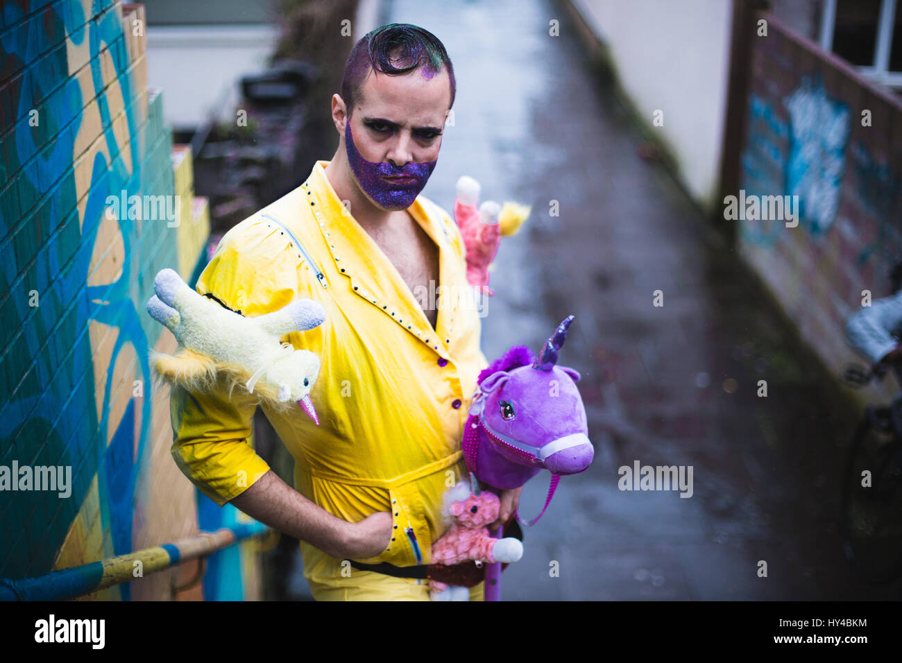 UNITED KINGDOM, WALES. March 15 2017. Boylesque dancer, Ernie Sparkles talks to We Are Cardiff about his love of - Stock Image