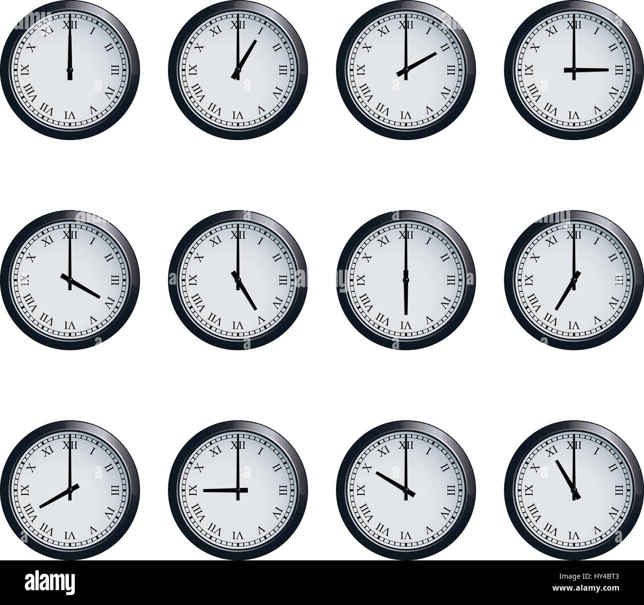 Clock set with Roman numerals, timed at each hour - Stock Image