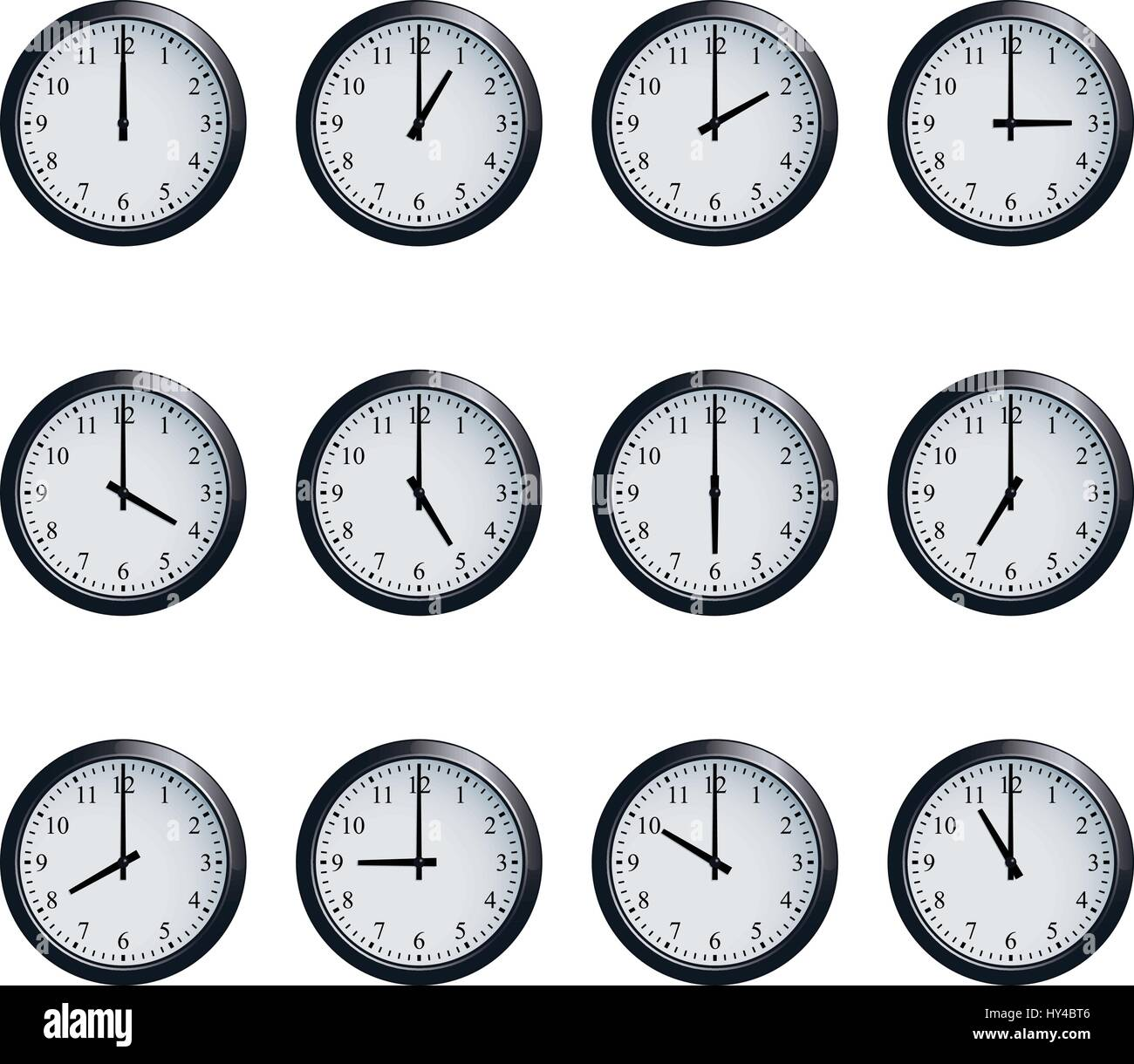 Clock set timed at each hour on white background - Stock Image