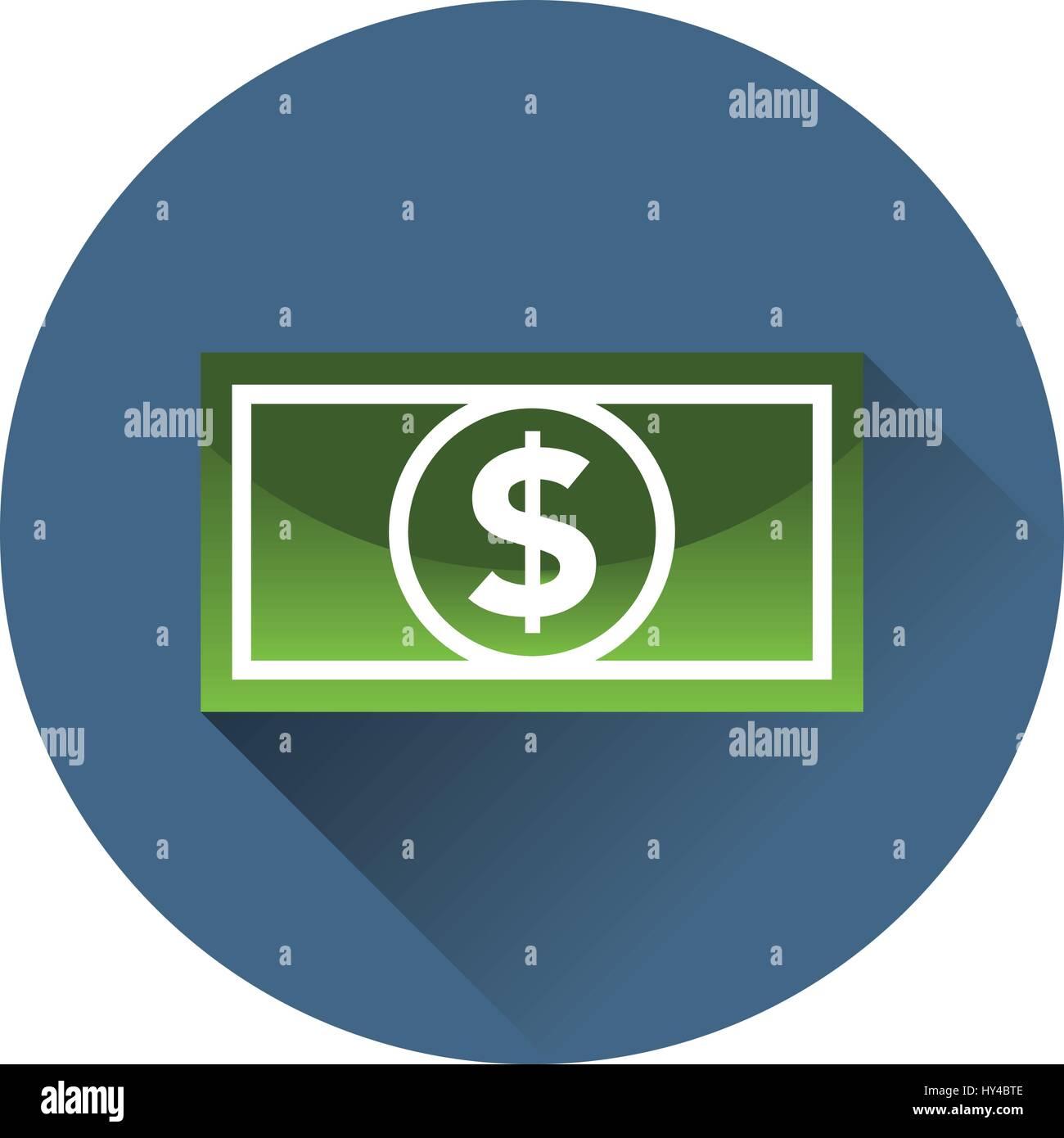 Dollar bill icon in a circle - Stock Vector