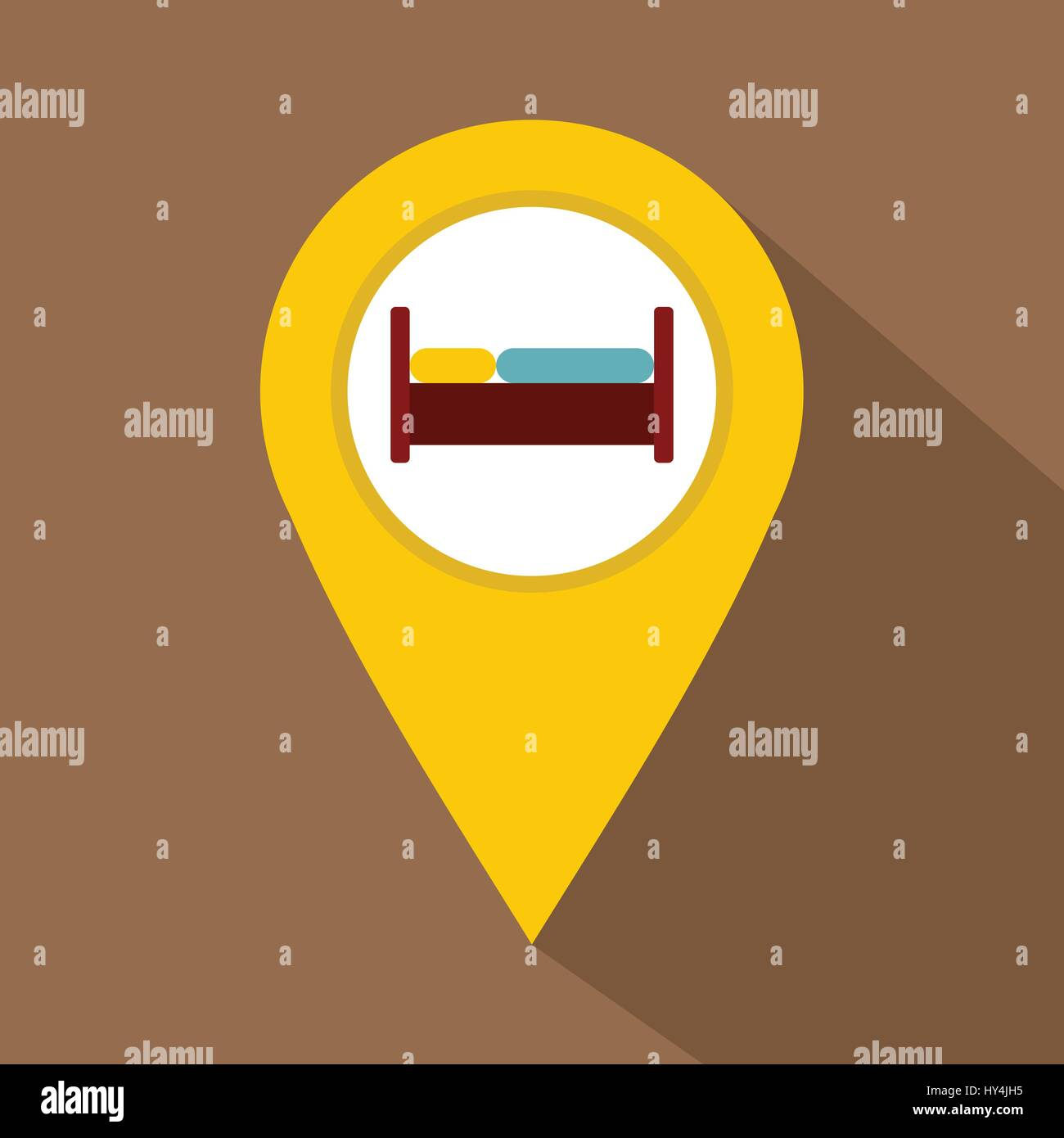 yellow map pointer with symbol hotel icon stock vector art