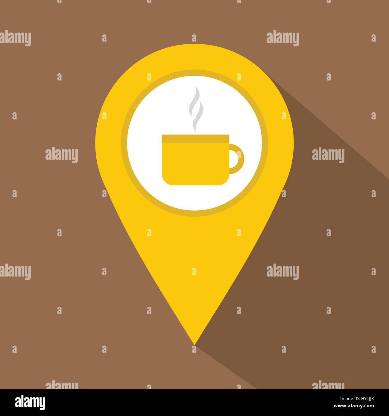 yellow map geo tag with tea or coffee cup icon stock vector art