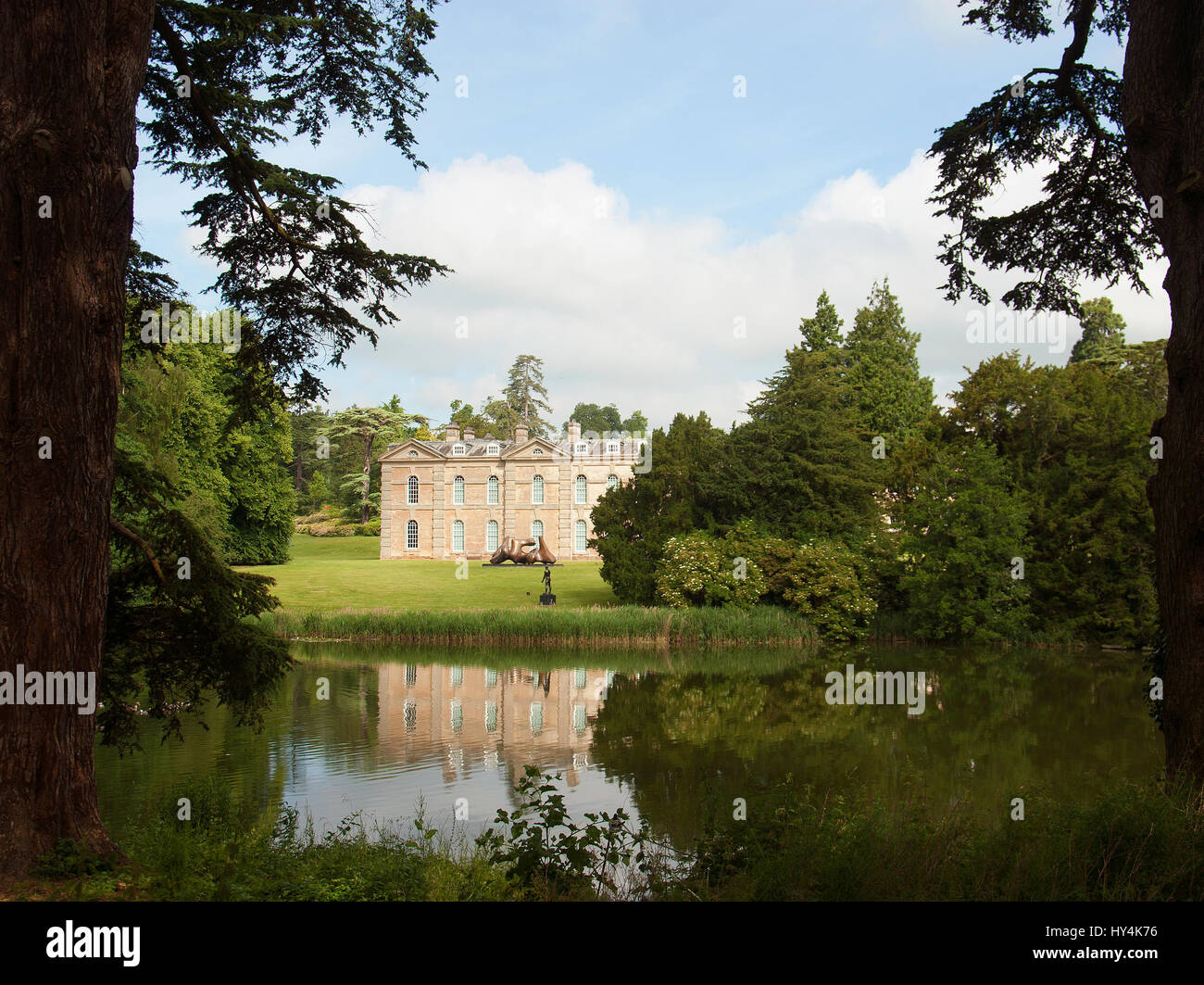 A view to Compton Verney House across Capability Brown's lake Stock Photo