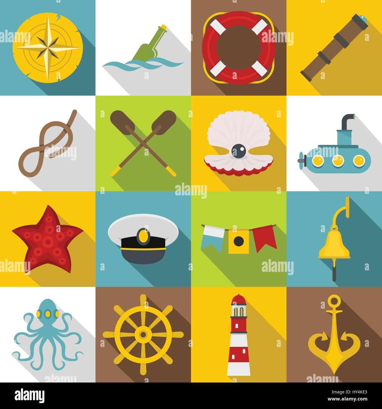 Nautical icons set, flat style - Stock Vector