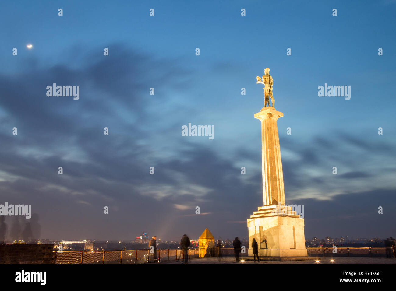Victor - Victory statue on Kalemegdan fortress by night - Belgrade - Serbia  Picture of the iconic Viktor (Pobednik) - Stock Image