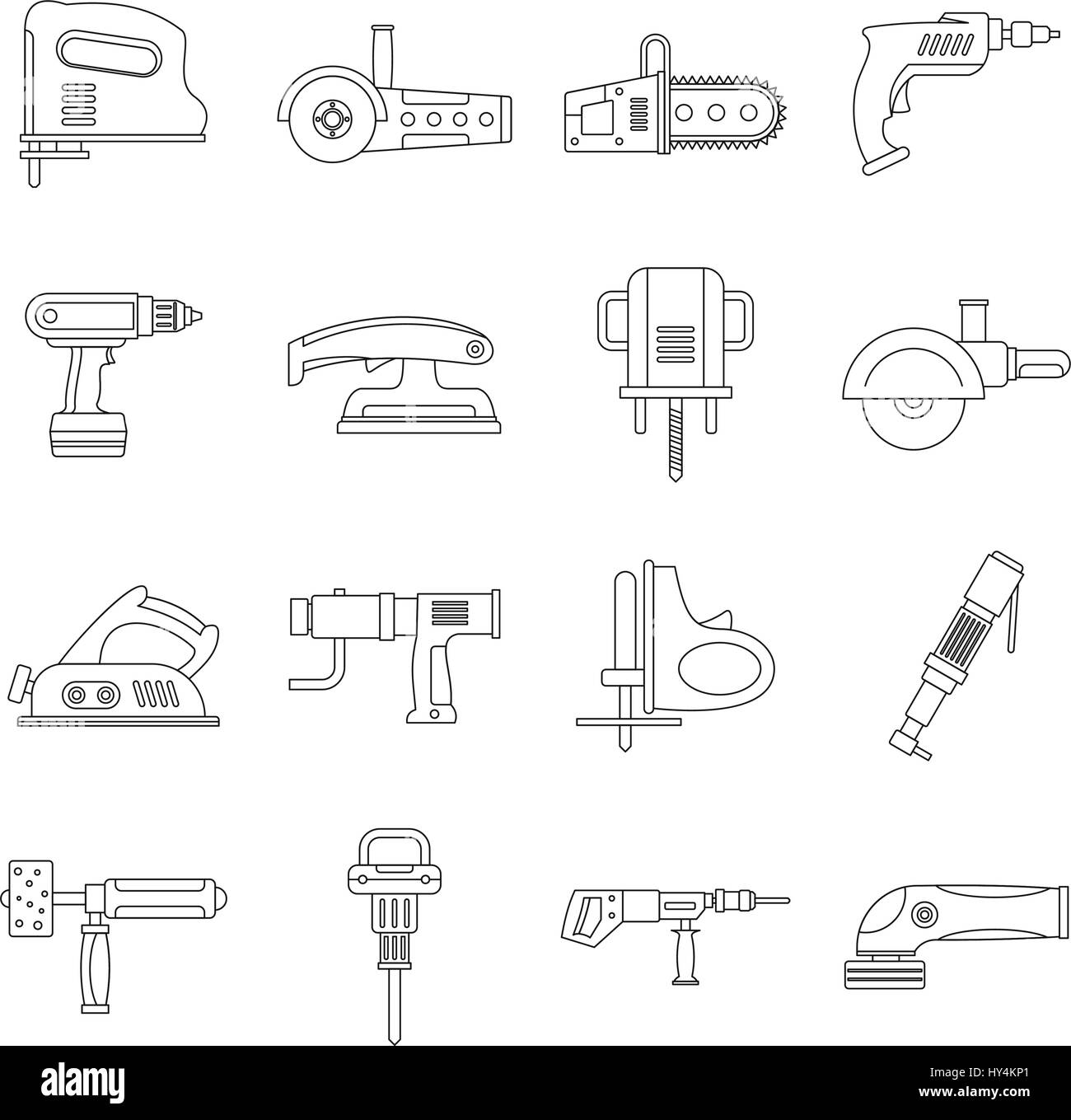 Electric tools icons set, outline style - Stock Image