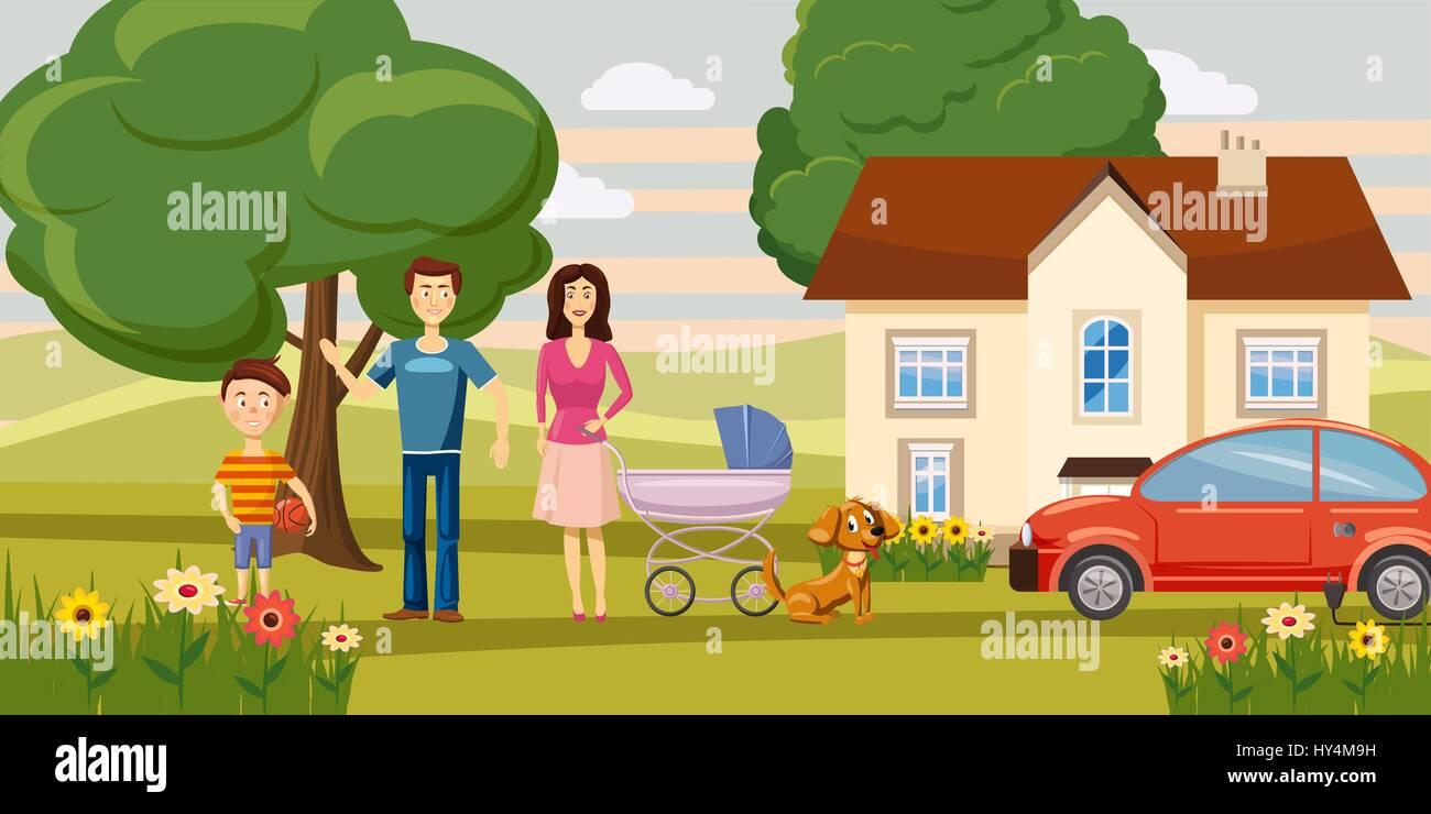 Family Horizontal Banner Garden, Cartoon Style   Stock Image