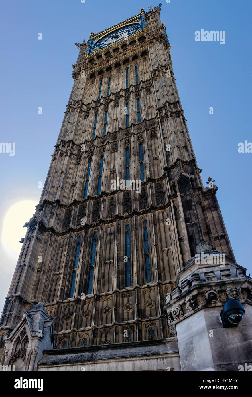 Unusual angle of the Big Ben clock tower - Stock Image