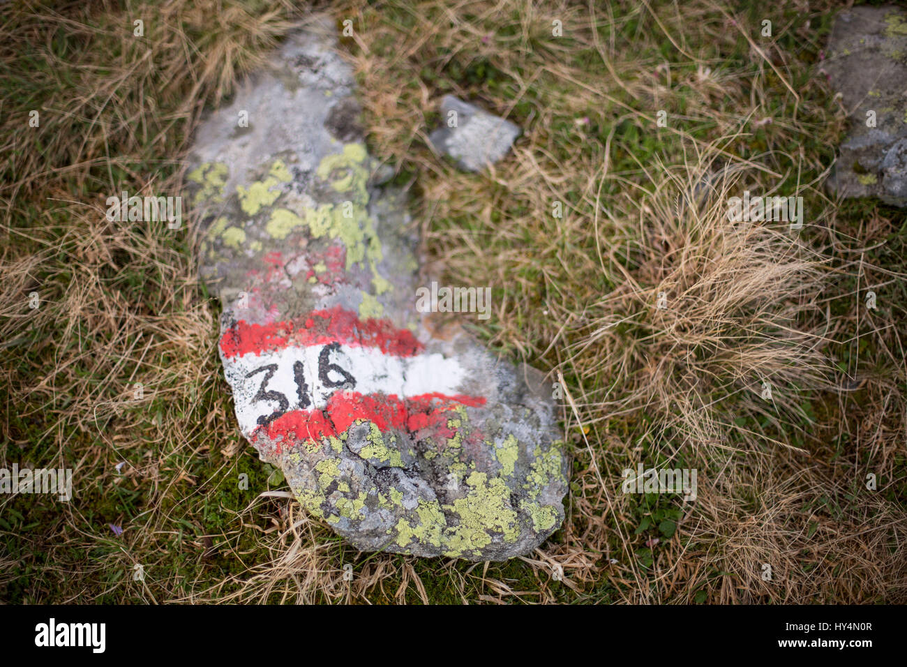 open aperture photo of a labeled stone im Zillertal - Stock Image
