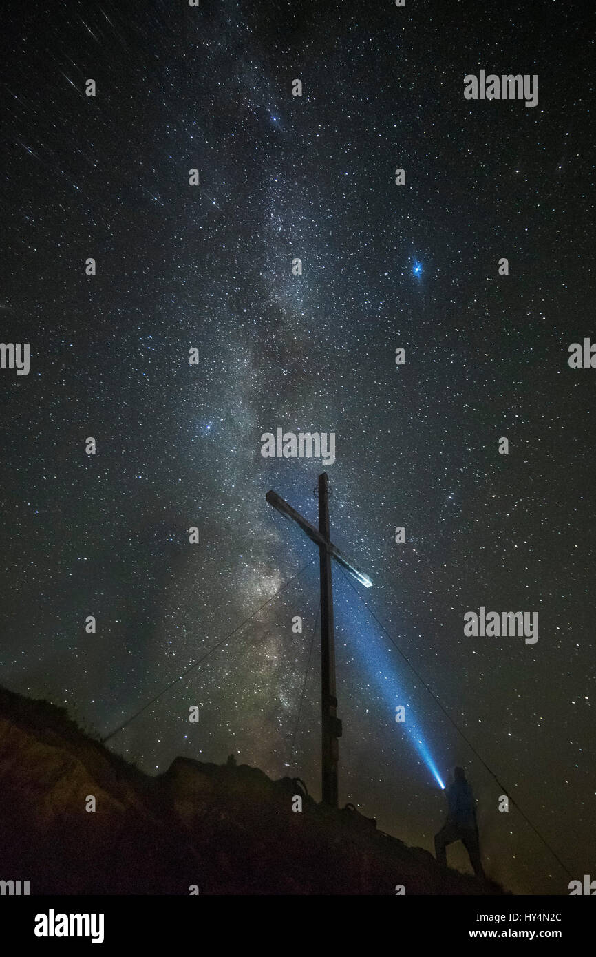 Light Painting with the Milky Way and the summit cross in the background - Stock Image