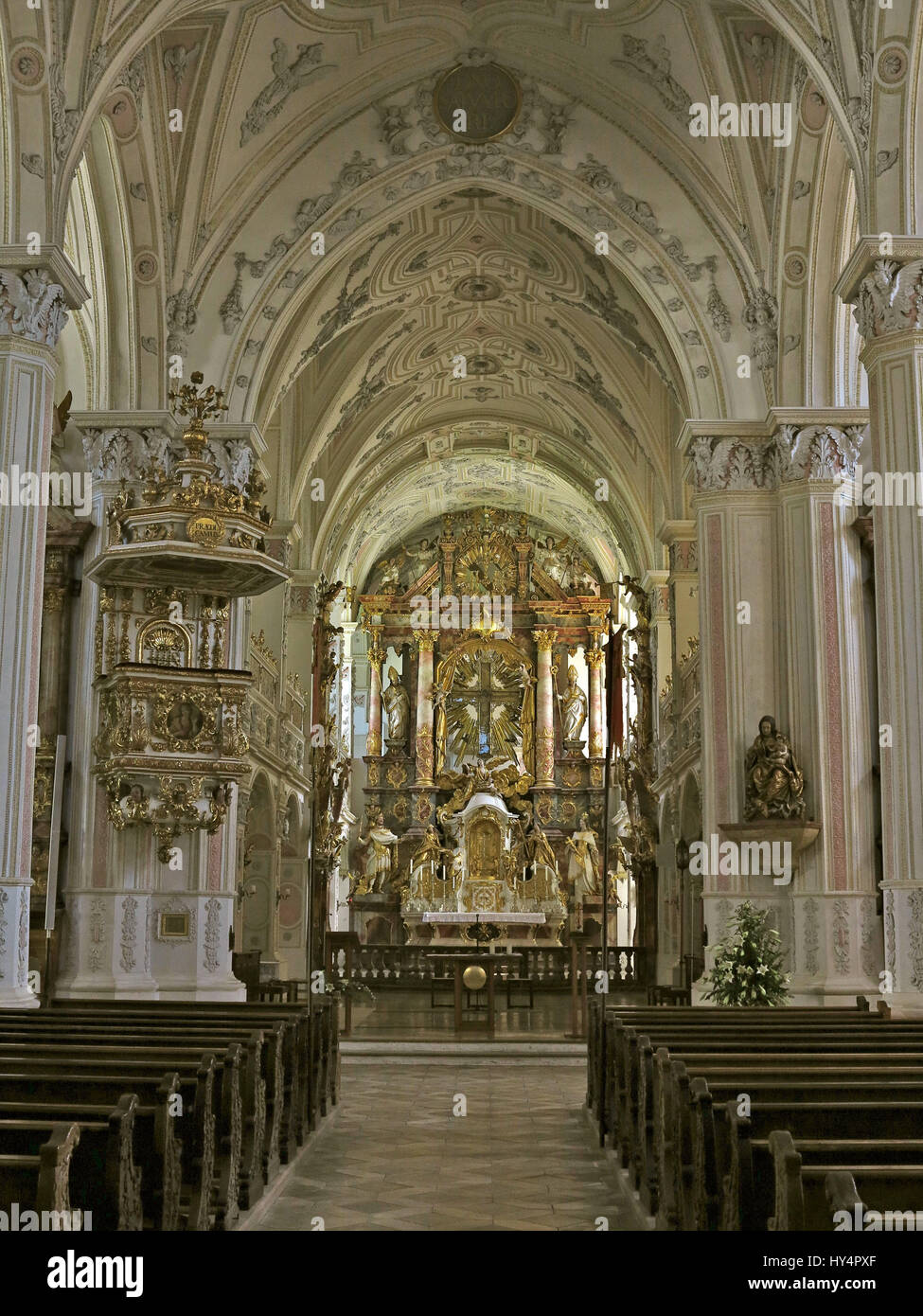 Polling Collegiate Church Hl Kreuz Interior Gothic Architecture Early Baroque Design Stucco By JArg Schmuzer School Of Wessobrunn High Altar