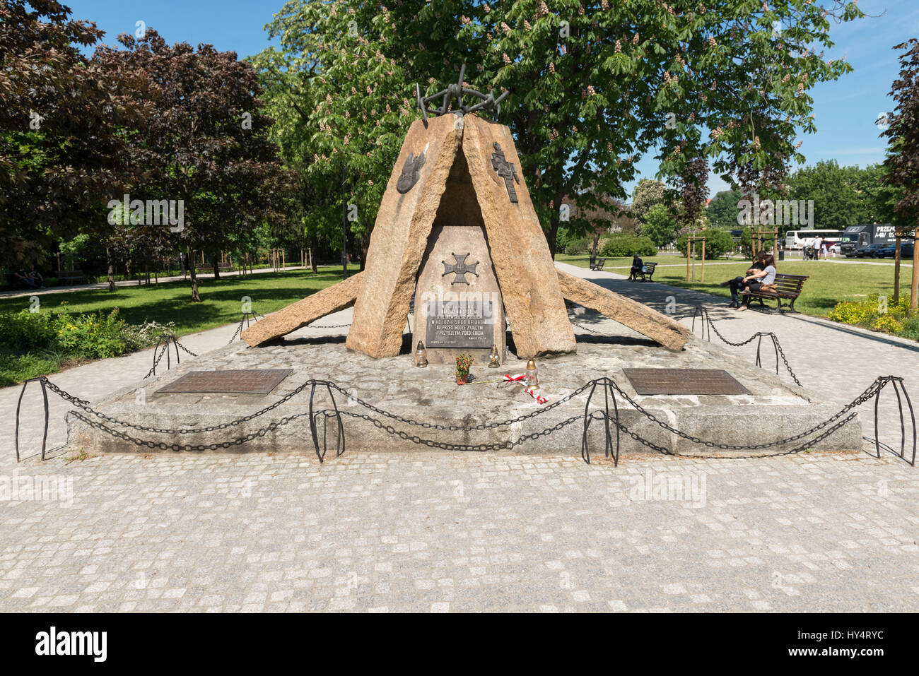 Poland, Wroclaw, Old Town Promenade, Monument for the Victims of Stalinism (Promenada Staromiejska) - Stock Image