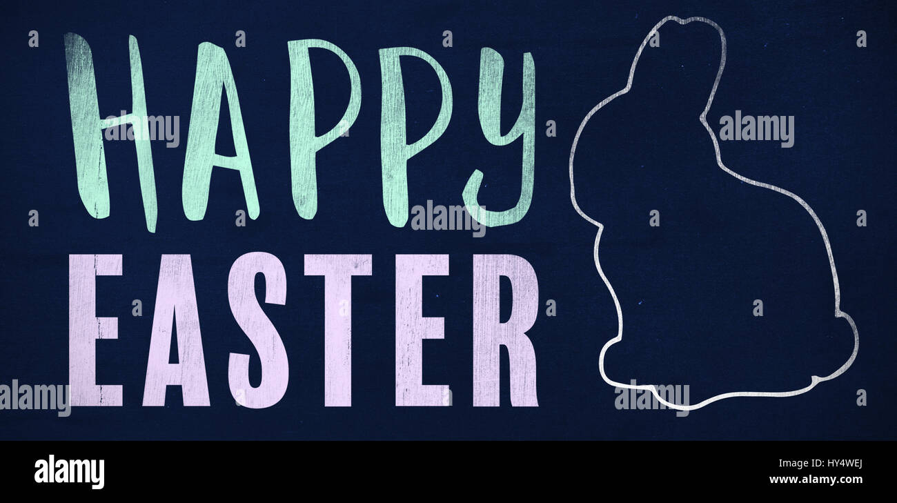 Easter greeting against navy blue - Stock Image