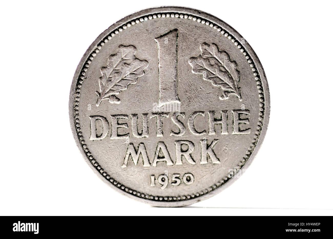 Deutsche Mark coin, D-Mark-Muenze - Stock Image