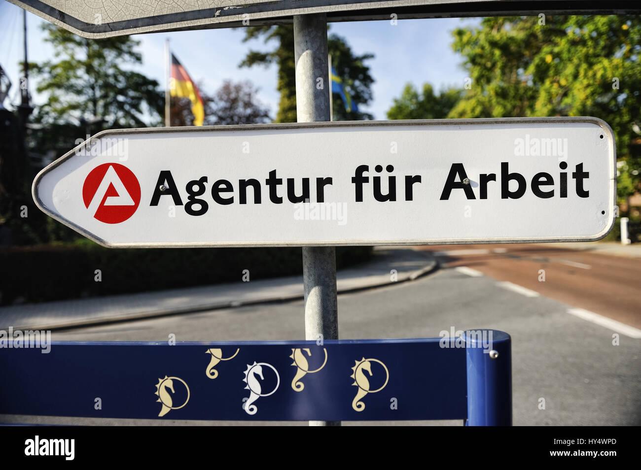 Sign Agency for work, Schild Agentur fuer Arbeit Stock Photo