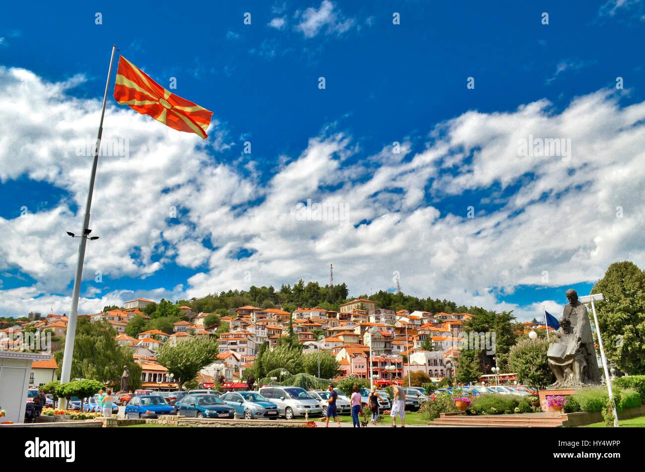Macedonian flag with Ohrid city, Macedonia - Stock Image