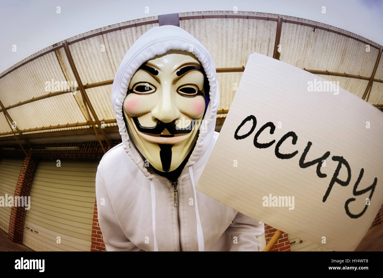 Man with Occupy mask and protest sign, protests against the power of the banks, Mann mit Occupy-Maske und Protest Stock Photo