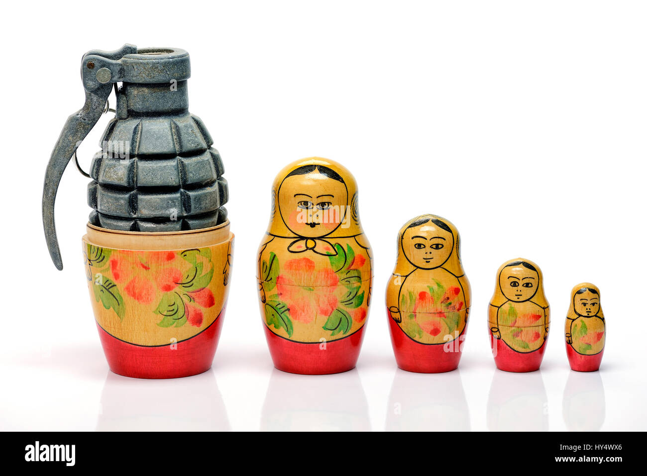 Russian Matroschka with grenade, the Russian military, Russische Matroschka mit Handgranate, russisches Militaer Stock Photo