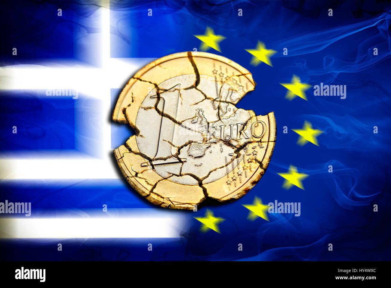 Euro-coin one with tears before Greece and EU flag, symbolic photo Grexit, Ein-Euro-Muenze mit Rissen vor Griechenland- und EU-Fahne, Symbolfoto Grexi Stock Photo