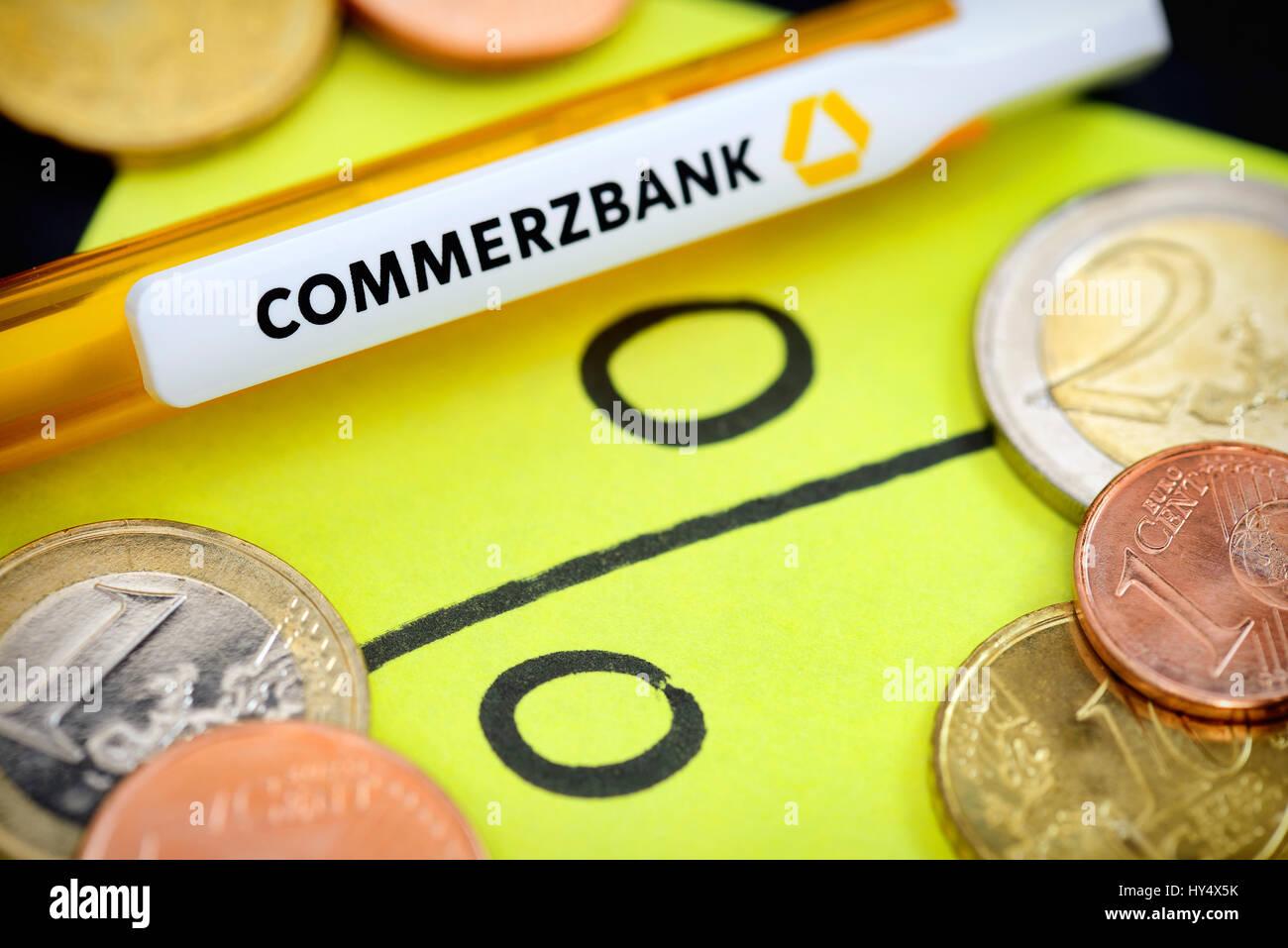 Percent signs and Commerzbank ballpoint pens, symbolic photo negative interest, Prozentzeichen und Commerzbank-Kugelschreiber, Stock Photo
