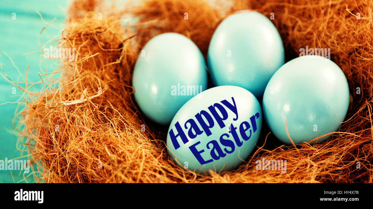 Circuit Board In Nest Stock Photos Easter Egg Will Makes Things Greeting Against Blue Eggs Image