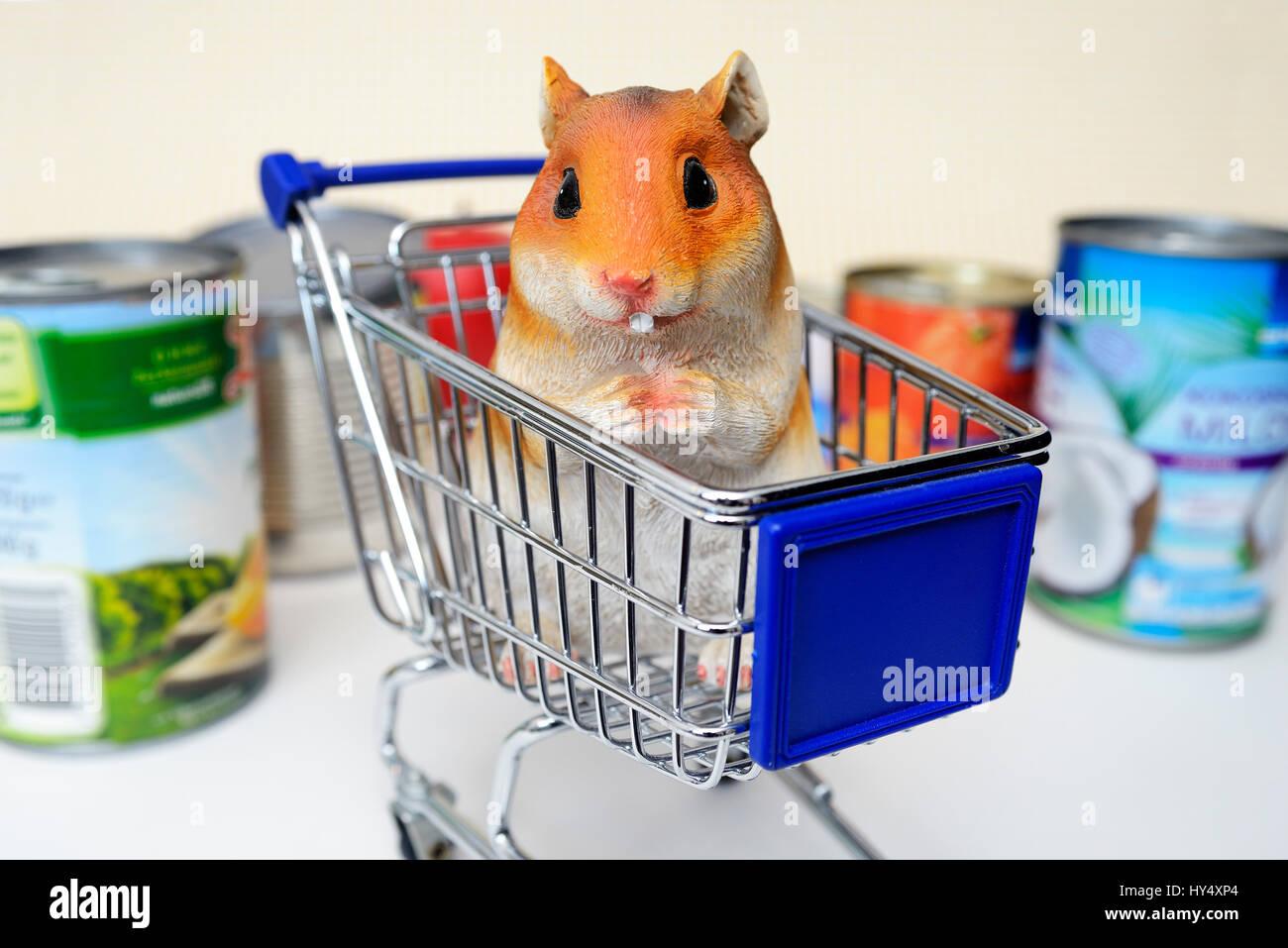 Hamster's figure in the shopping cart, symbolic photo hamster's purchases, Hamsterfigur im Einkaufswagen, Symbolfoto Hamsterkaeufe Stock Photo