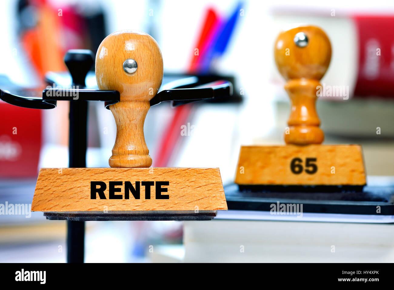 Stamp with the label Pension and 65, Stempel mit der Aufschrift Rente und 65 Stock Photo