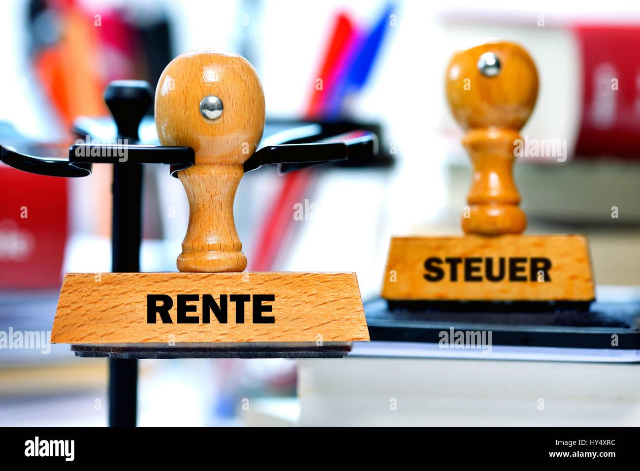 Stamp with the label Pension and Tax, Stempel mit der Aufschrift Rente und Steuer Stock Photo