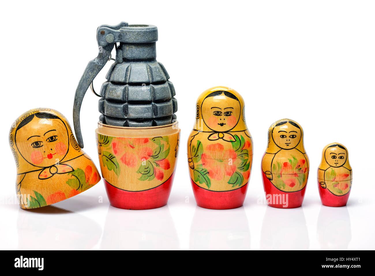 Russian Matroschka with grenade, the Russian military, Russische Matroschka mit Handgranate, russisches Militaer Stock Photo