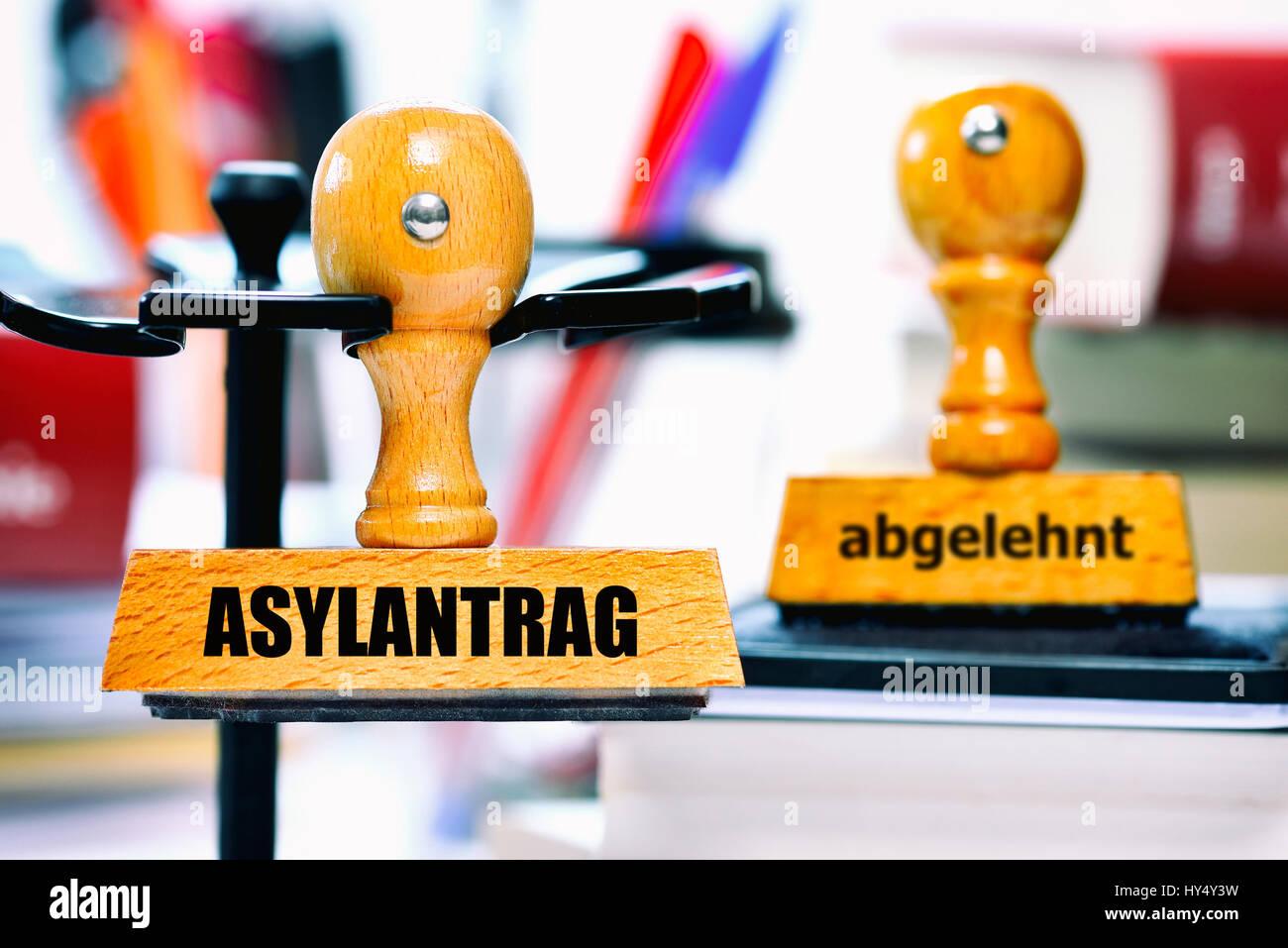 Stamp with the label Asylum application and rejected, Stempel mit der Aufschrift Asylantrag und abgelehnt Stock Photo