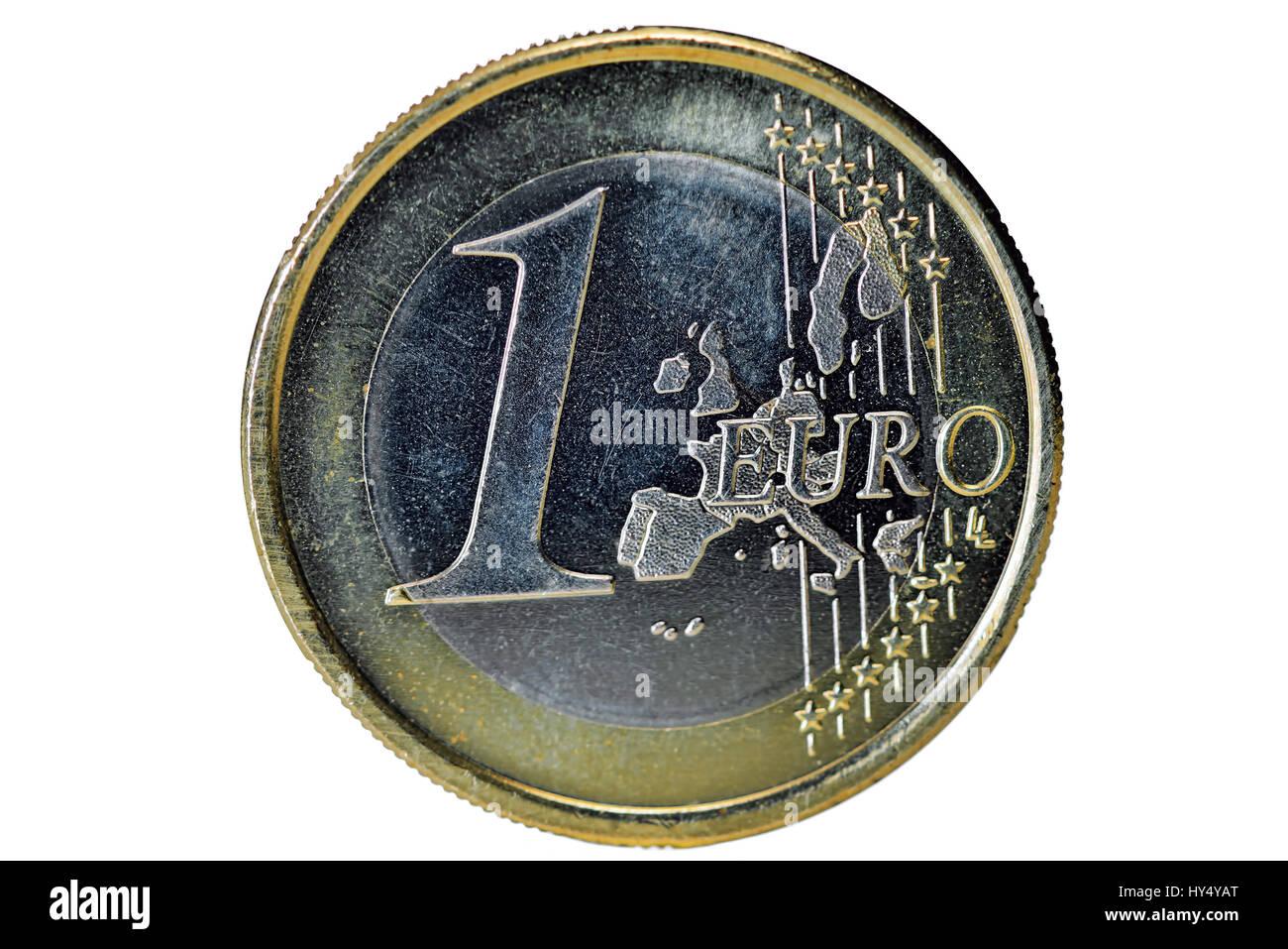 Euro-coin one, Ein-Euro-Muenze - Stock Image