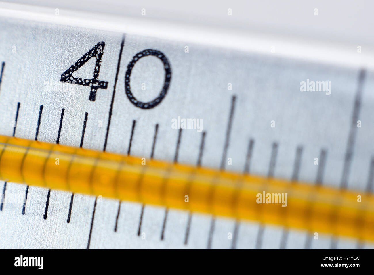 Clinical thermometer at 40 degrees, fever, Fieberthermometer bei 40 Grad, Fieber Stock Photo