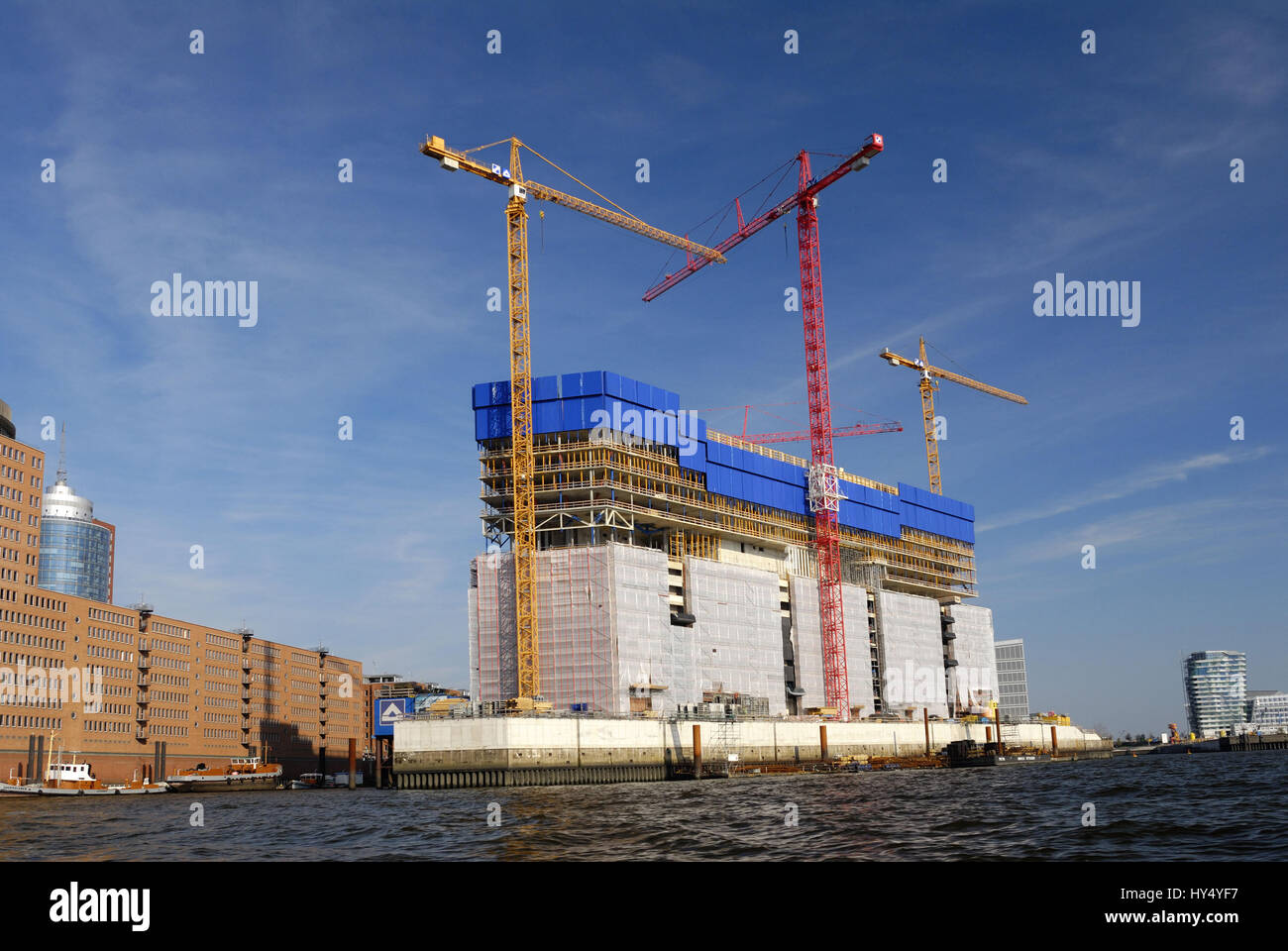 Building site in the Elbphilharmonie and harbour in Hamburg, Germany, Europe, Baustelle an der Elbphilharmonie und - Stock Image
